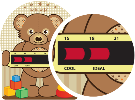 A Bear themed Room Thermometer close of trend, displaying the temperature